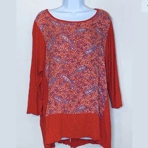 LUCKY BRAND Floral Paisley Long Sleeve Tunic Top